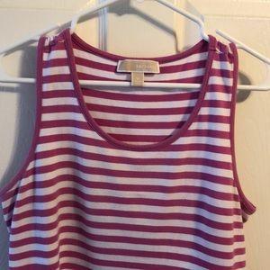 Michael Kors Pink White Striped Tank Top